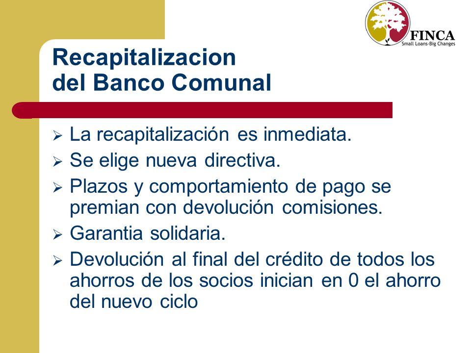 Recapitalizacion del Banco Comunal
