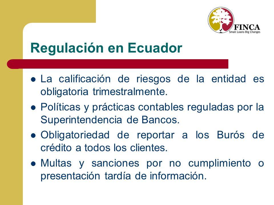 Regulación en Ecuador La calificación de riesgos de la entidad es obligatoria trimestralmente.