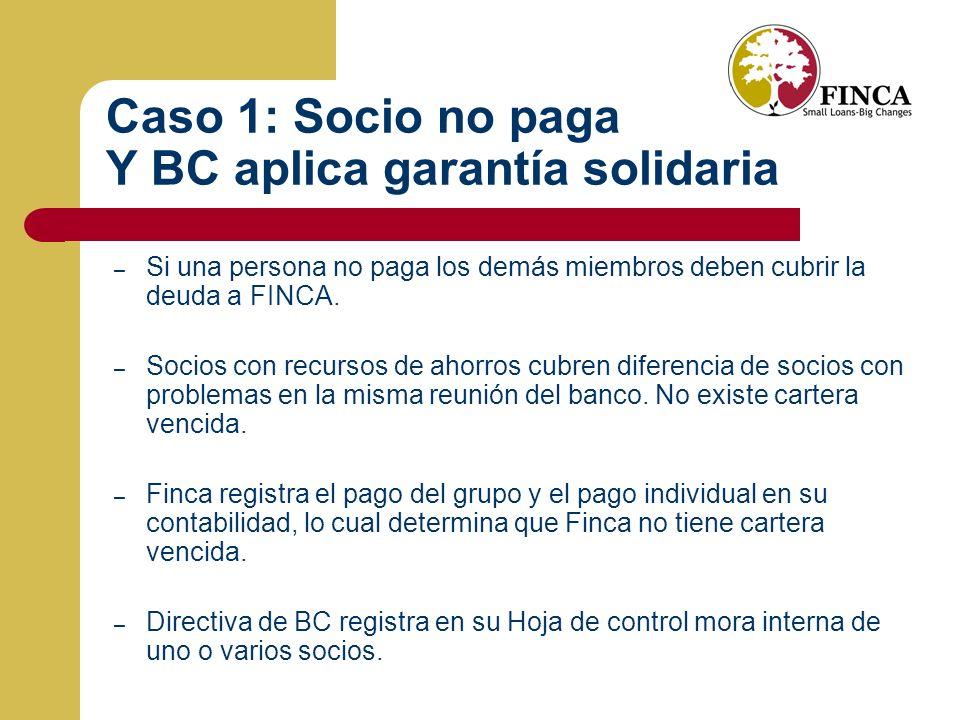 Caso 1: Socio no paga Y BC aplica garantía solidaria
