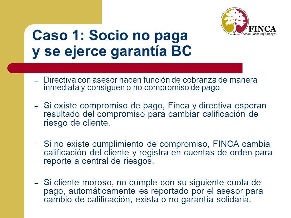 Caso 1: Socio no paga y se ejerce garantía BC