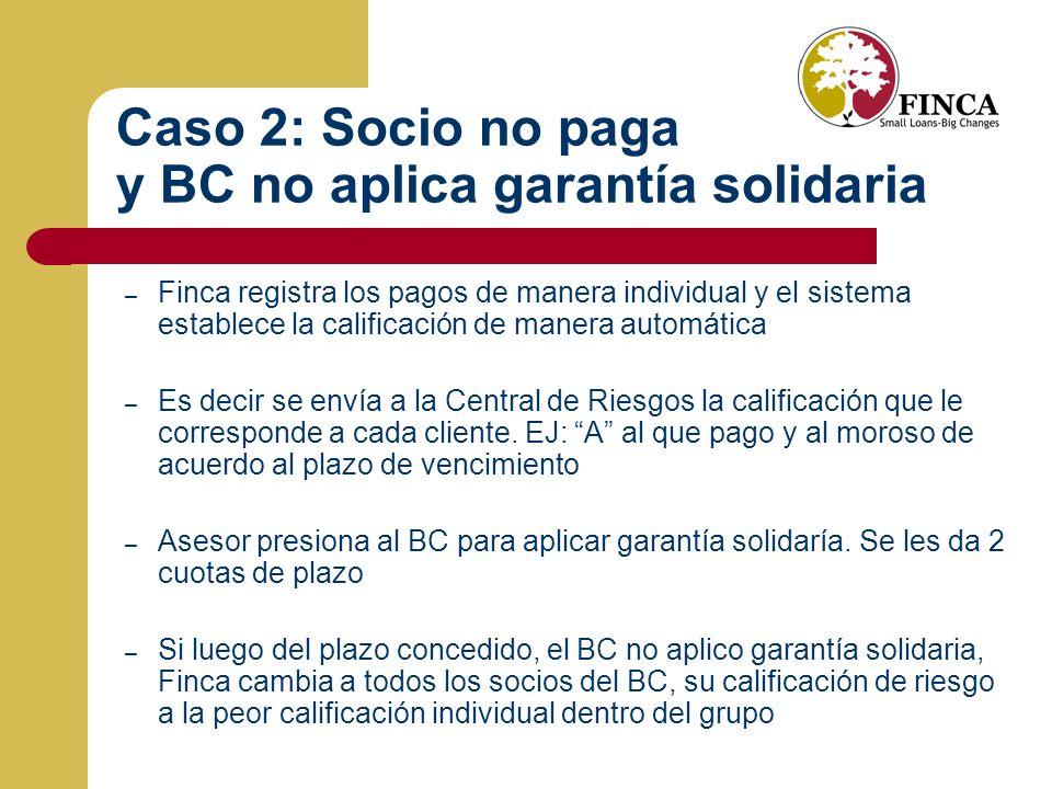 Caso 2: Socio no paga y BC no aplica garantía solidaria