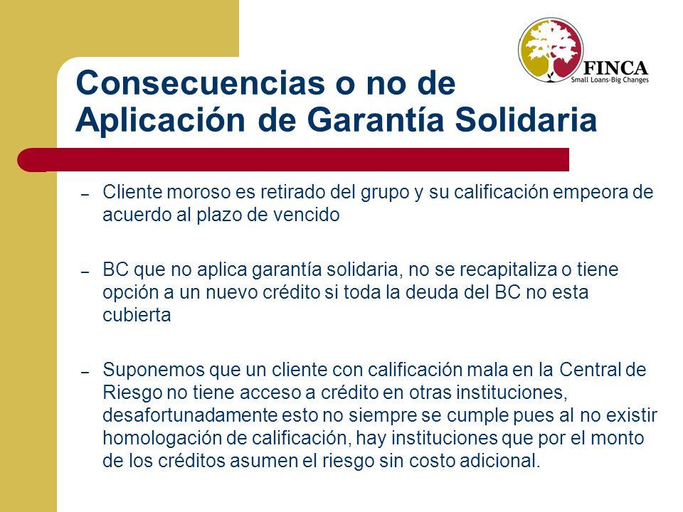 Consecuencias o no de Aplicación de Garantía Solidaria