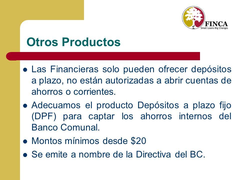 Otros Productos Las Financieras solo pueden ofrecer depósitos a plazo, no están autorizadas a abrir cuentas de ahorros o corrientes.