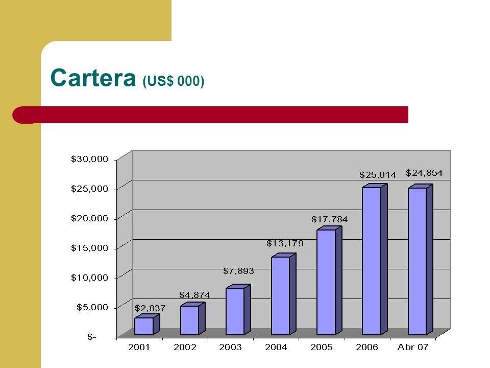 Cartera (US$ 000) Llenar la información y porcentaje de cumplimiento de presupuesto 2004 versus información real a Diciembre del 2004.