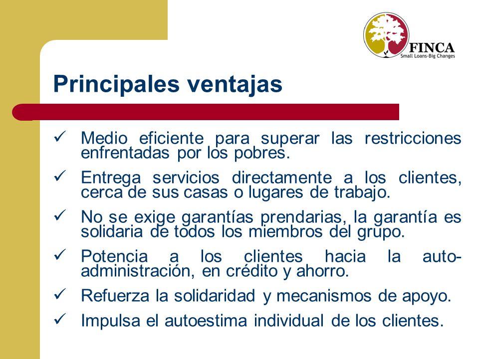 Principales ventajas Medio eficiente para superar las restricciones enfrentadas por los pobres.