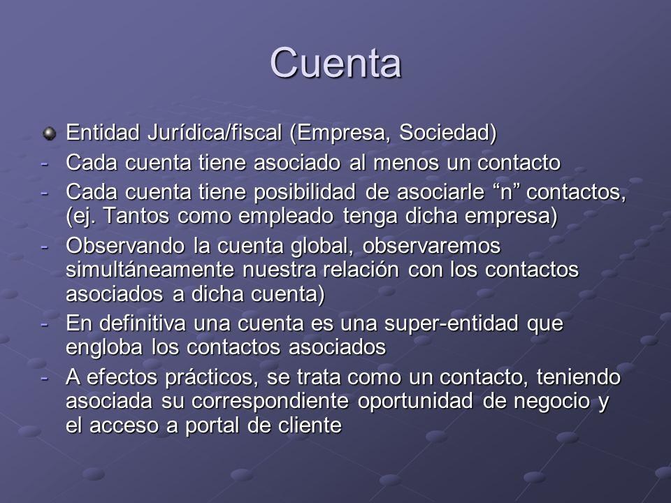 Cuenta Entidad Jurídica/fiscal (Empresa, Sociedad)