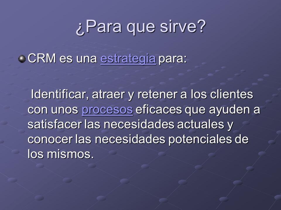 ¿Para que sirve CRM es una estrategia para: