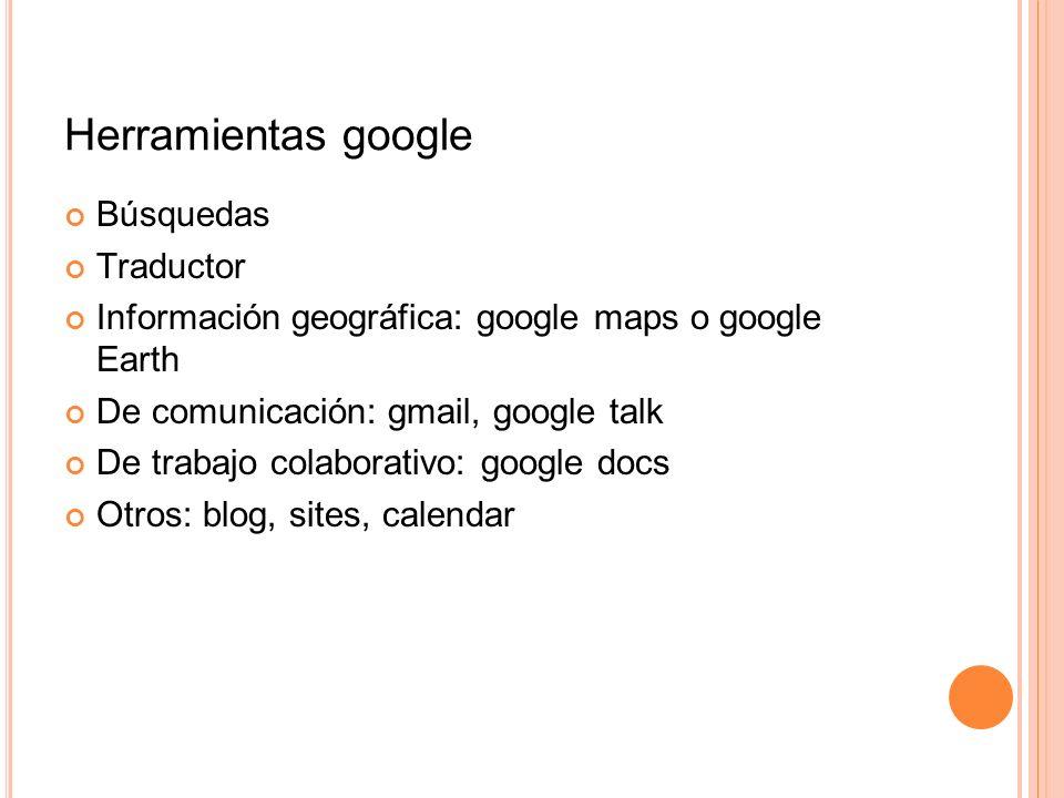 Herramientas google Búsquedas Traductor