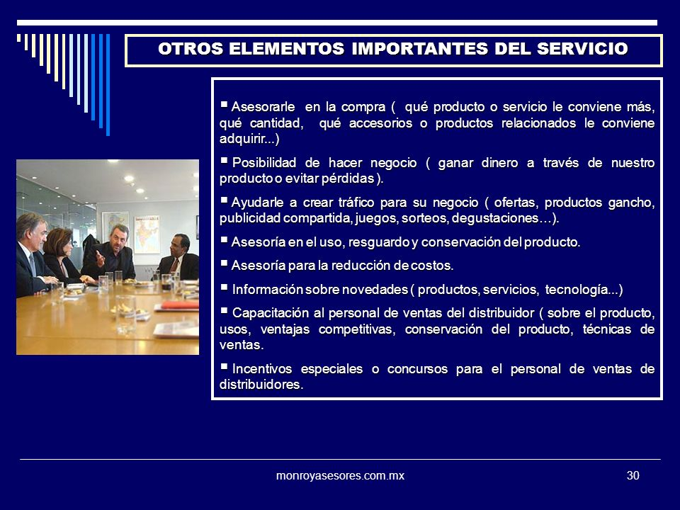 OTROS ELEMENTOS IMPORTANTES DEL SERVICIO