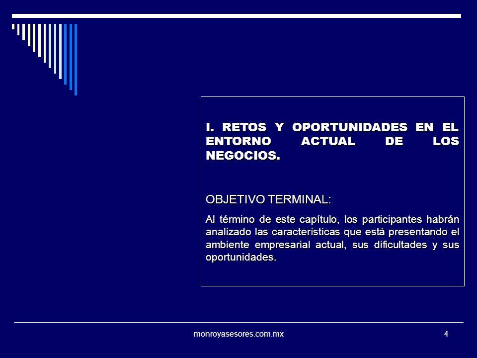 I. RETOS Y OPORTUNIDADES EN EL ENTORNO ACTUAL DE LOS NEGOCIOS.