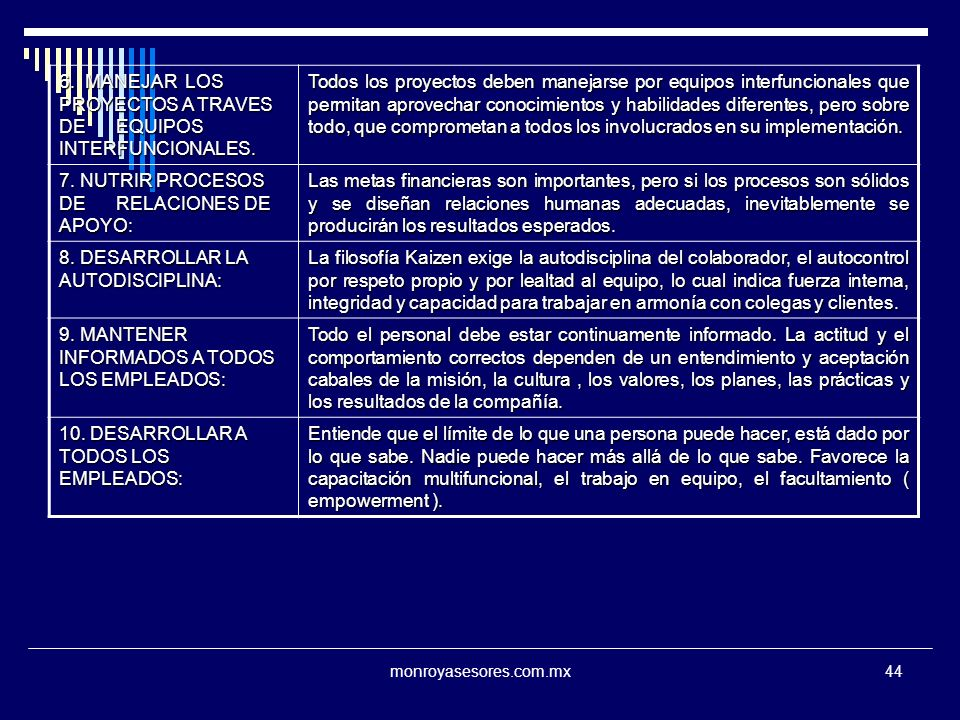 6. MANEJAR LOS PROYECTOS A TRAVES DE EQUIPOS INTERFUNCIONALES.