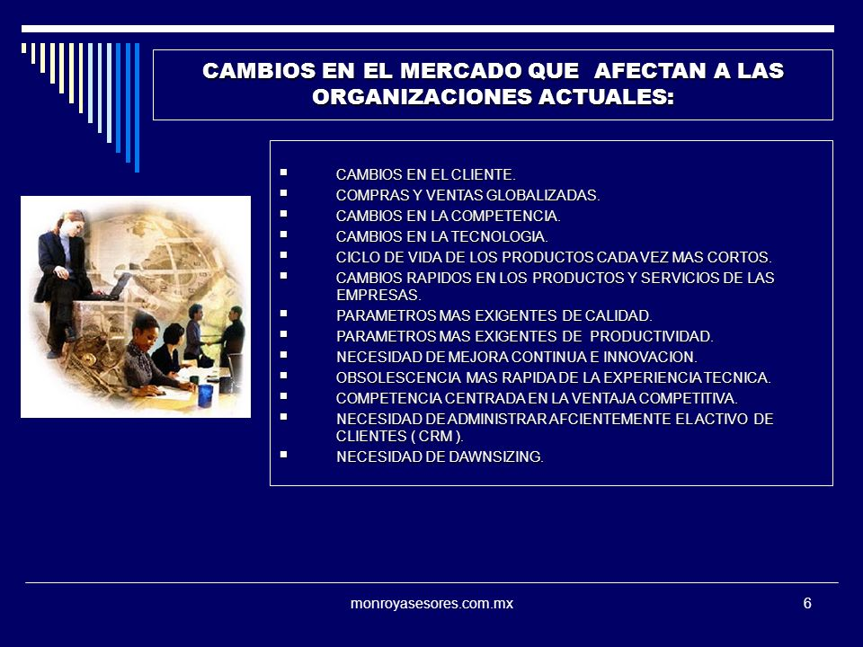 CAMBIOS EN EL MERCADO QUE AFECTAN A LAS ORGANIZACIONES ACTUALES: