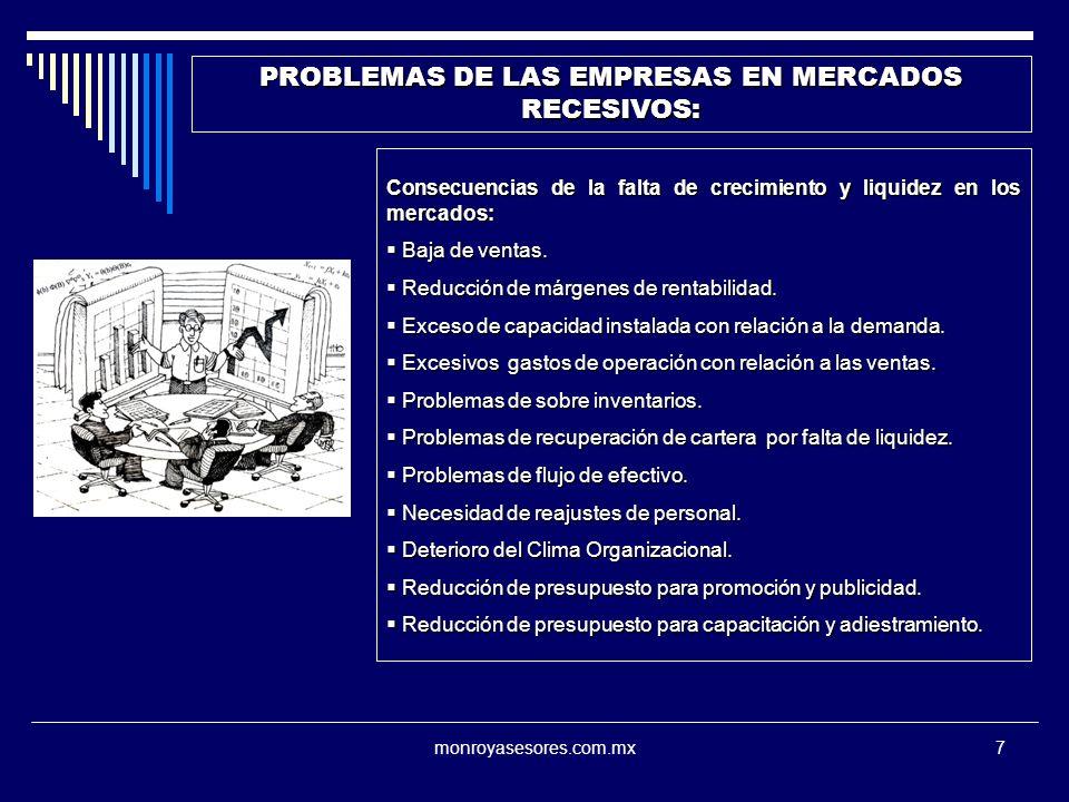 PROBLEMAS DE LAS EMPRESAS EN MERCADOS RECESIVOS: