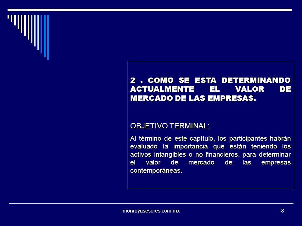 2 . COMO SE ESTA DETERMINANDO ACTUALMENTE EL VALOR DE MERCADO DE LAS EMPRESAS.