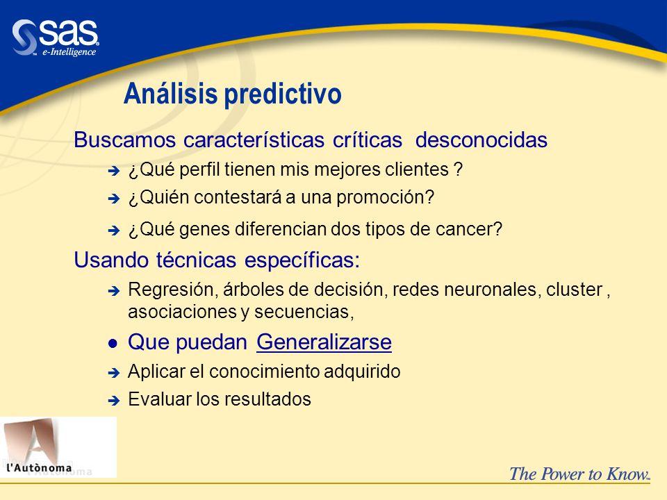 Análisis predictivo Buscamos características críticas desconocidas