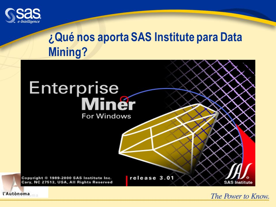 ¿Qué nos aporta SAS Institute para Data Mining