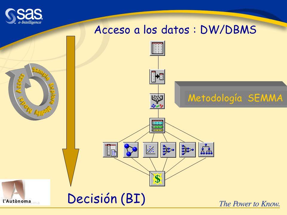 Decisión (BI) Acceso a los datos : DW/DBMS