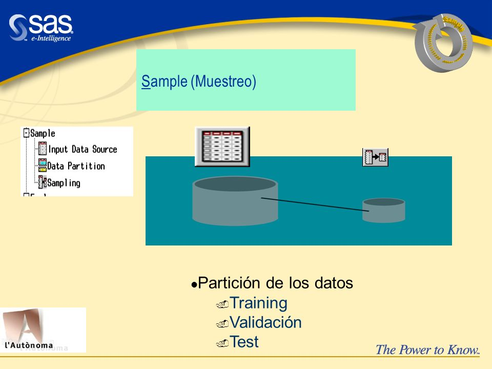 Sample ....... ...... ..... ................... Sample (Muestreo) Partición de los datos. Training.