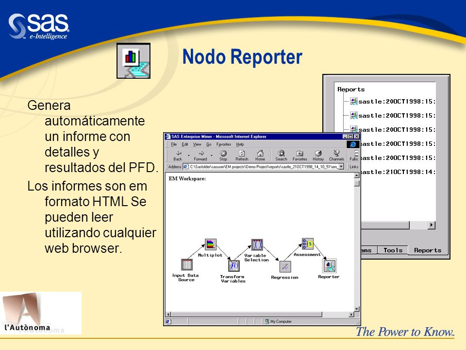 Nodo Reporter Genera automáticamente un informe con detalles y resultados del PFD.