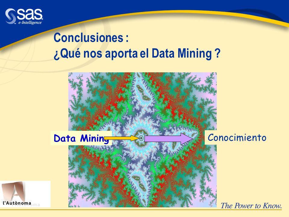 Conclusiones : ¿Qué nos aporta el Data Mining