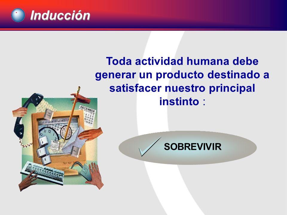 Inducción Toda actividad humana debe generar un producto destinado a satisfacer nuestro principal instinto :
