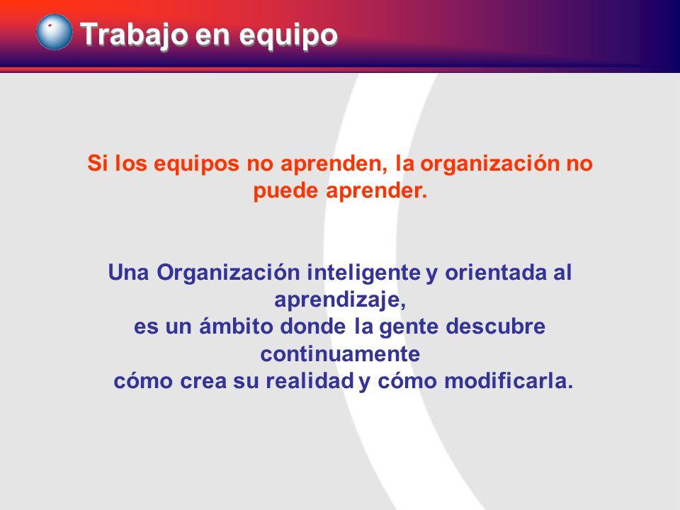Trabajo en equipo Si los equipos no aprenden, la organización no puede aprender. Una Organización inteligente y orientada al aprendizaje,