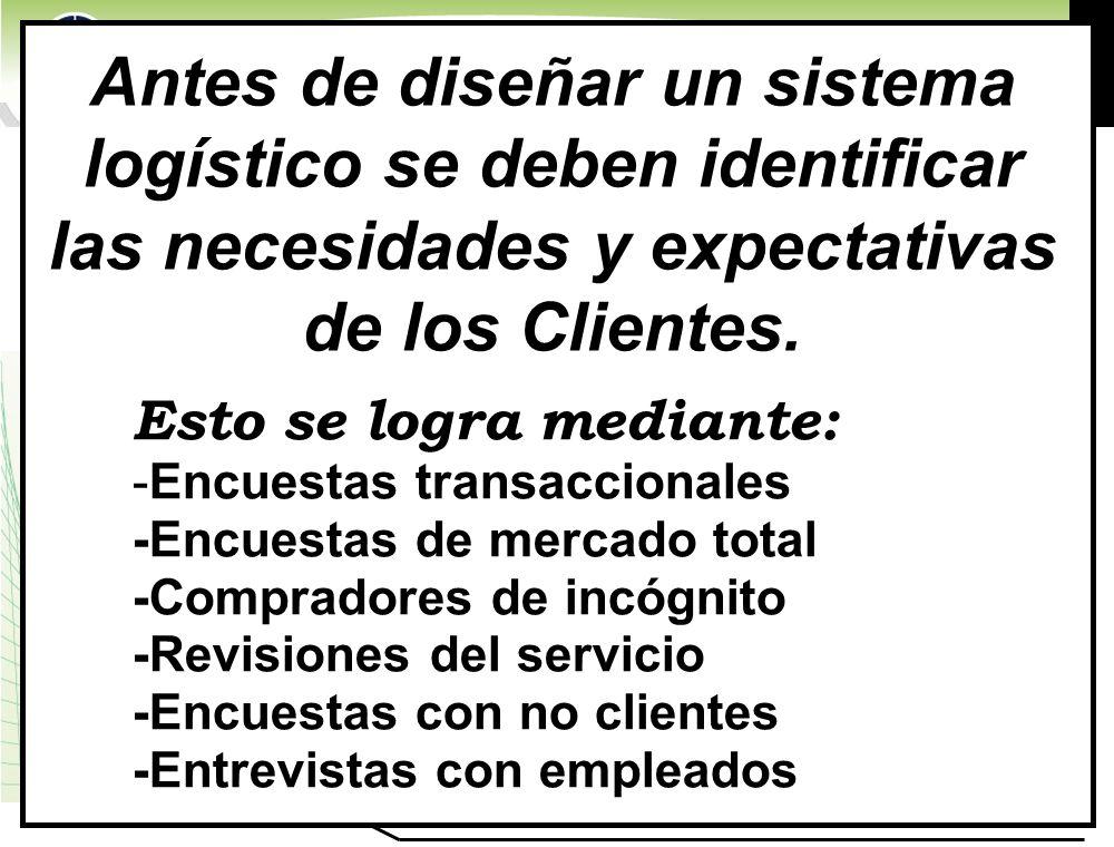 Antes de diseñar un sistema logístico se deben identificar las necesidades y expectativas de los Clientes.