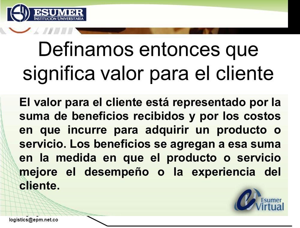 Definamos entonces que significa valor para el cliente