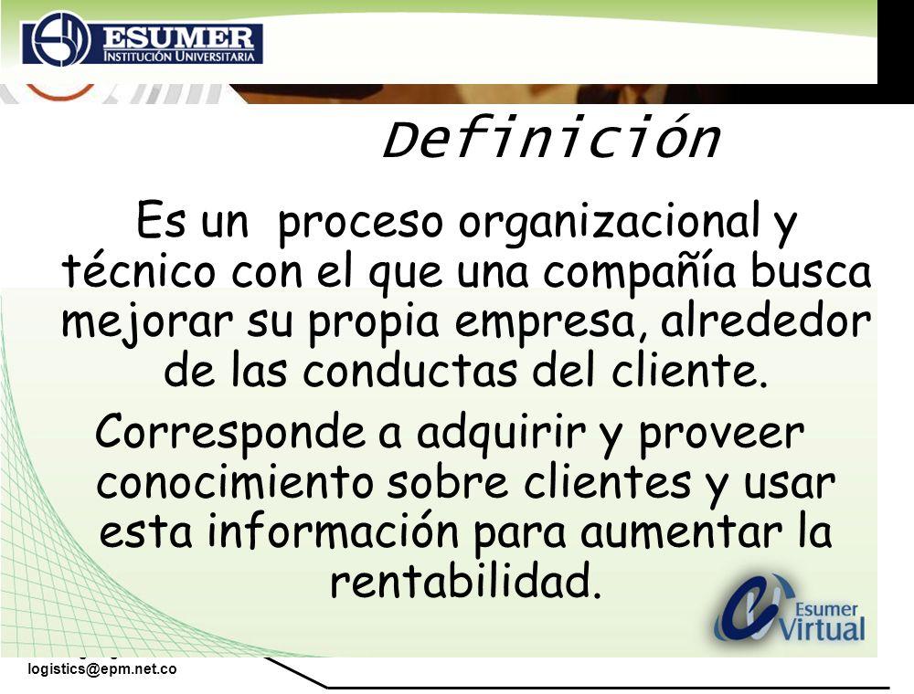 Definición Es un proceso organizacional y técnico con el que una compañía busca mejorar su propia empresa, alrededor de las conductas del cliente.