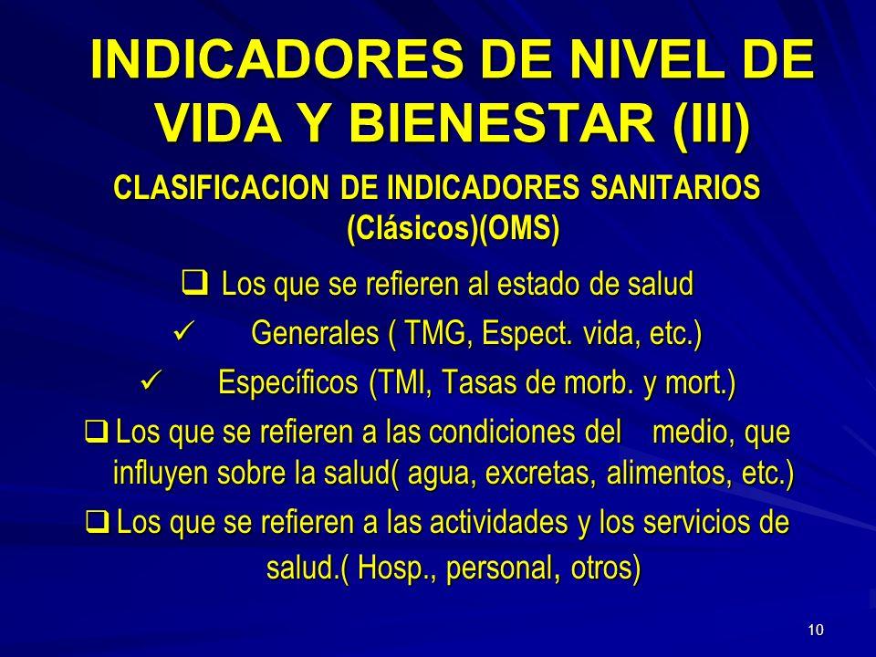INDICADORES DE NIVEL DE VIDA Y BIENESTAR (III)