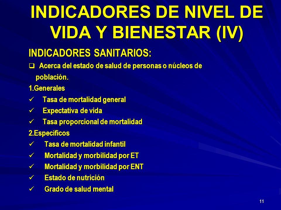 INDICADORES DE NIVEL DE VIDA Y BIENESTAR (lV)