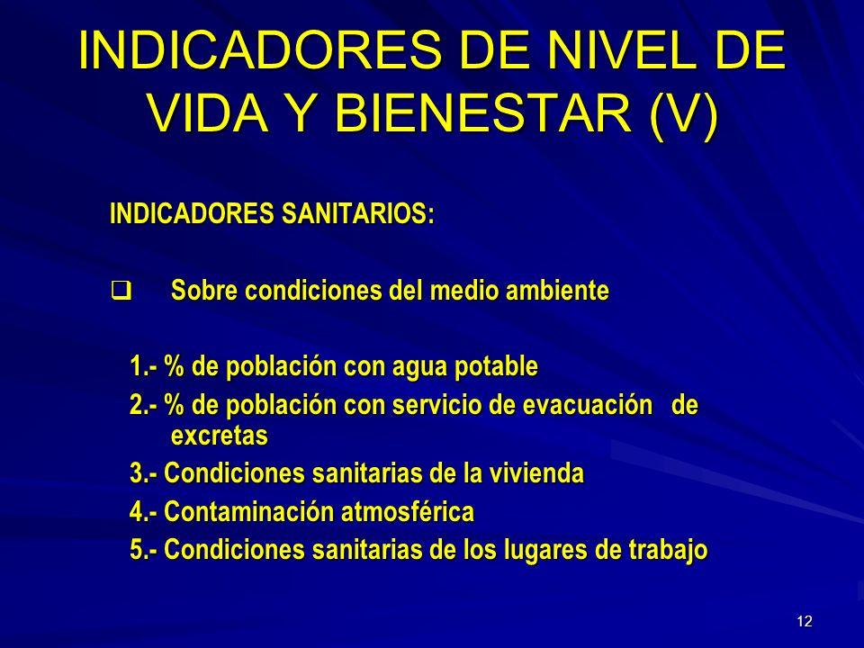 INDICADORES DE NIVEL DE VIDA Y BIENESTAR (V)