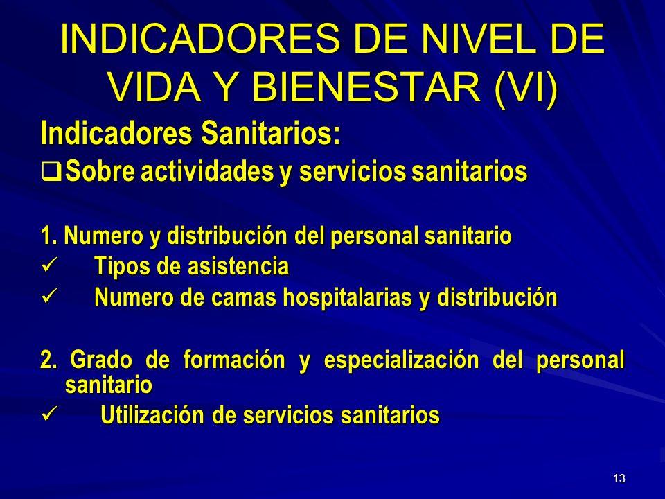 INDICADORES DE NIVEL DE VIDA Y BIENESTAR (VI)