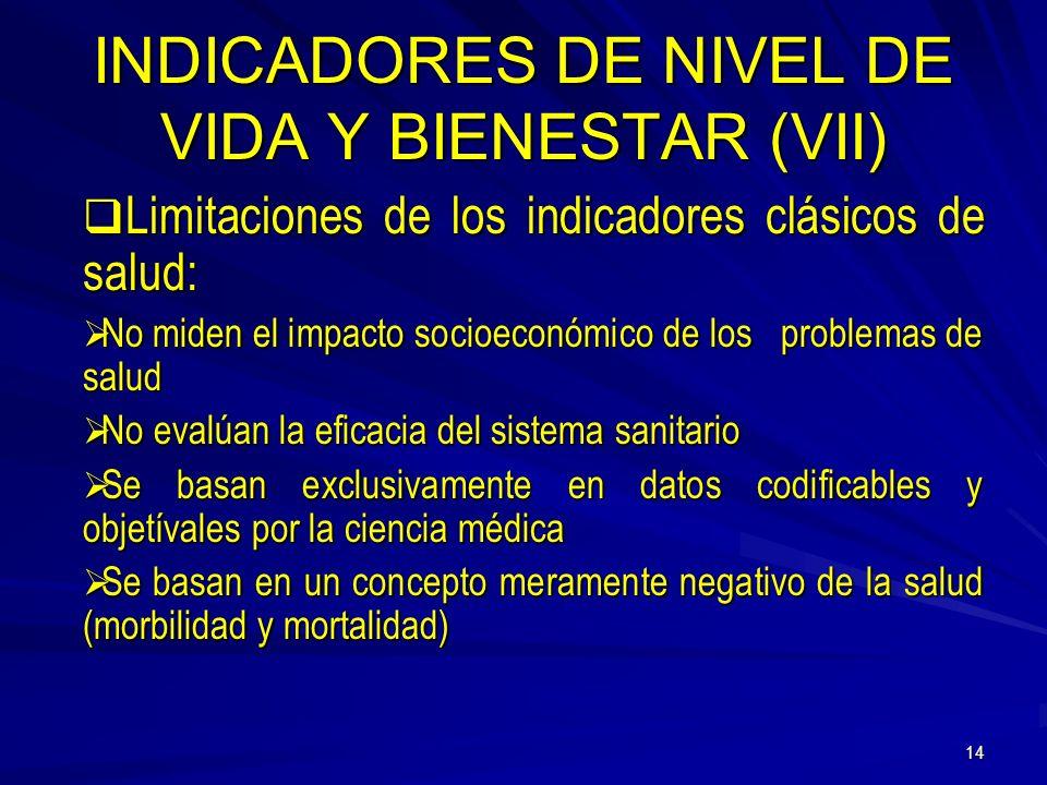 INDICADORES DE NIVEL DE VIDA Y BIENESTAR (VII)