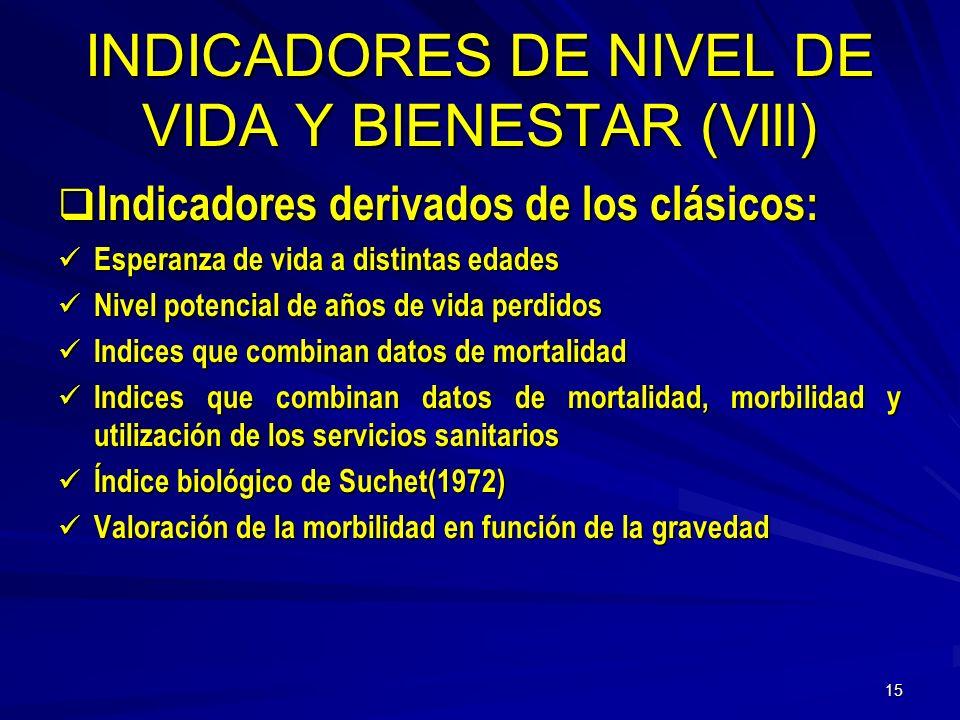 INDICADORES DE NIVEL DE VIDA Y BIENESTAR (Vlll)