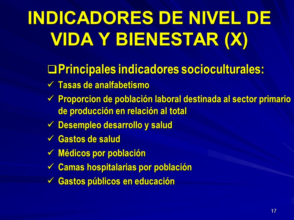INDICADORES DE NIVEL DE VIDA Y BIENESTAR (X)