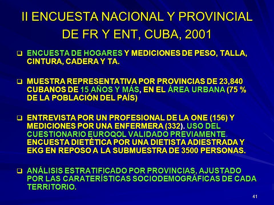 II ENCUESTA NACIONAL Y PROVINCIAL DE FR Y ENT, CUBA, 2001