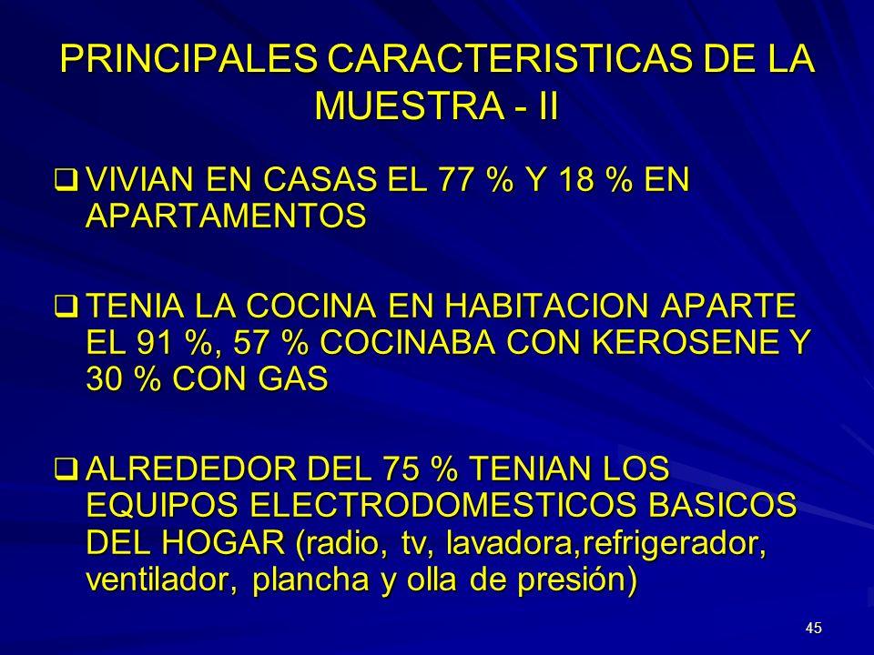 PRINCIPALES CARACTERISTICAS DE LA MUESTRA - II