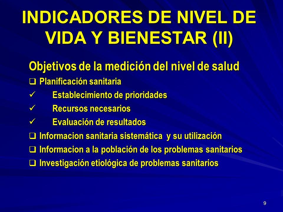 INDICADORES DE NIVEL DE VIDA Y BIENESTAR (II)