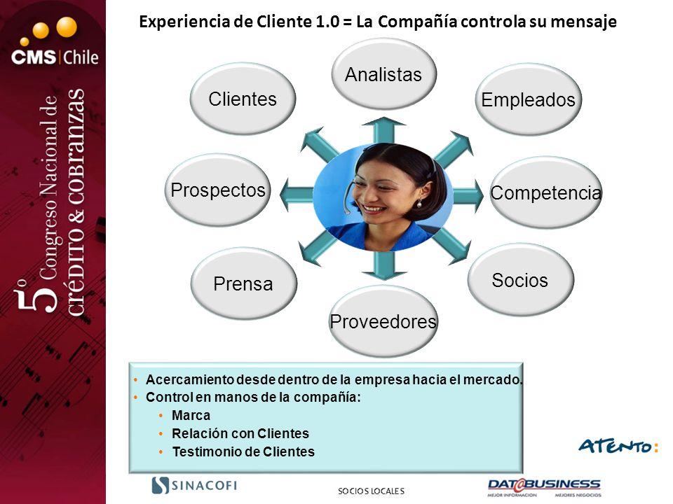Experiencia de Cliente 1.0 = La Compañía controla su mensaje