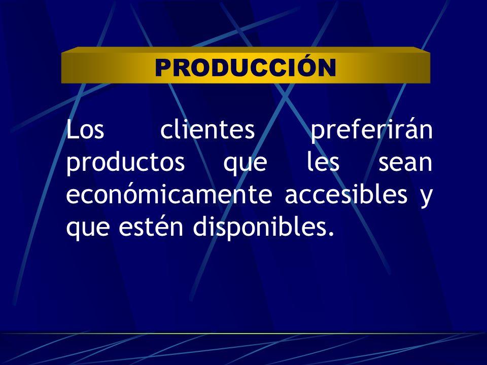 PRODUCCIÓN Los clientes preferirán productos que les sean económicamente accesibles y que estén disponibles.