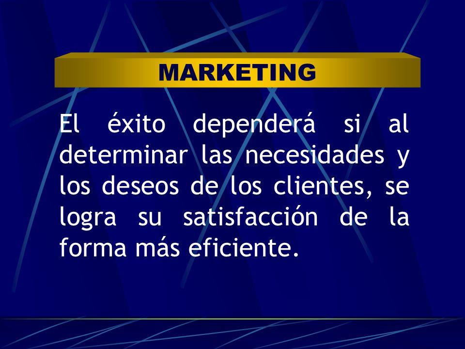MARKETING El éxito dependerá si al determinar las necesidades y los deseos de los clientes, se logra su satisfacción de la forma más eficiente.