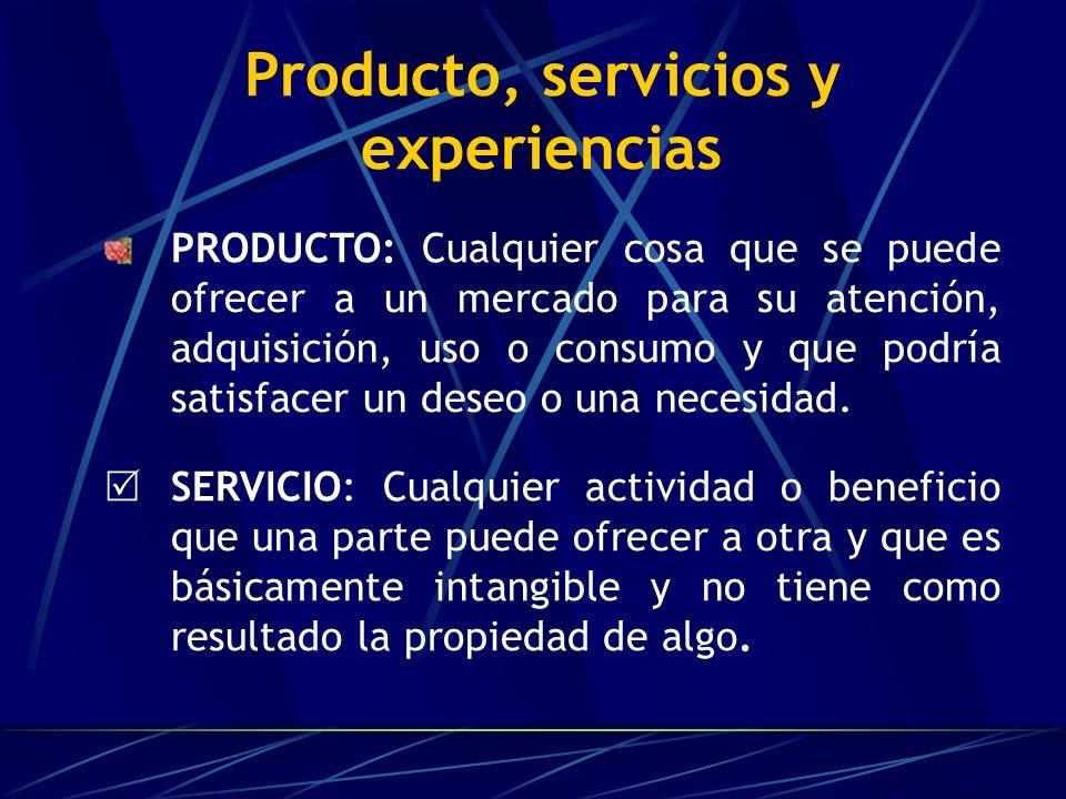 Producto, servicios y experiencias