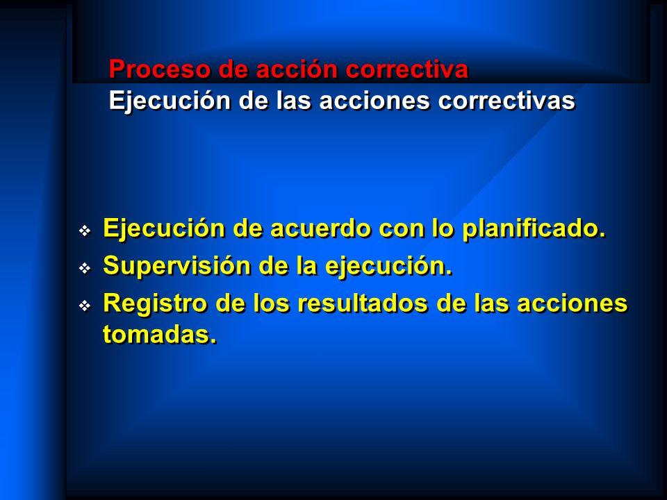 Proceso de acción correctiva Ejecución de las acciones correctivas