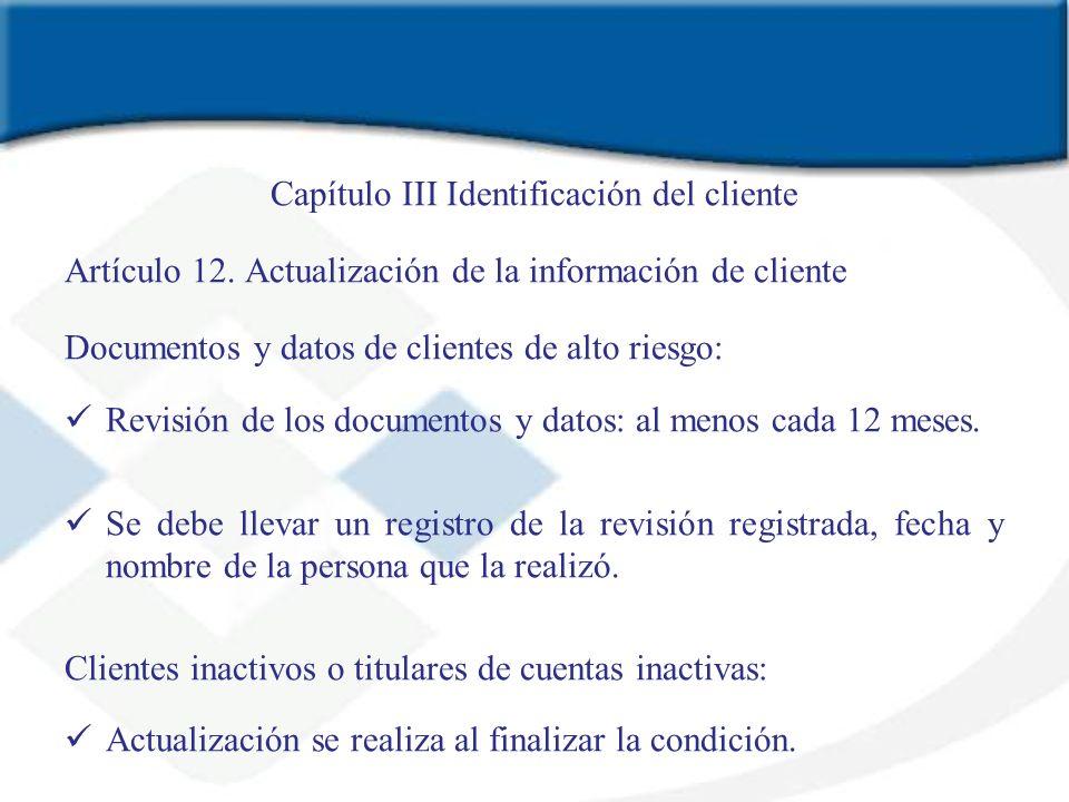Capítulo III Identificación del cliente