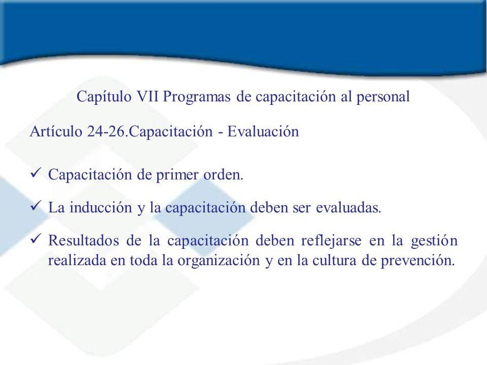 Capítulo VII Programas de capacitación al personal