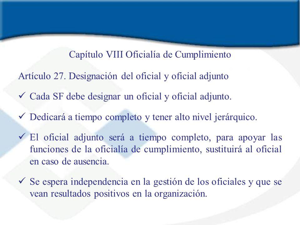Capítulo VIII Oficialía de Cumplimiento