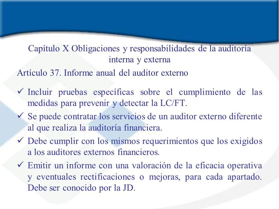 Capítulo X Obligaciones y responsabilidades de la auditoría interna y externa