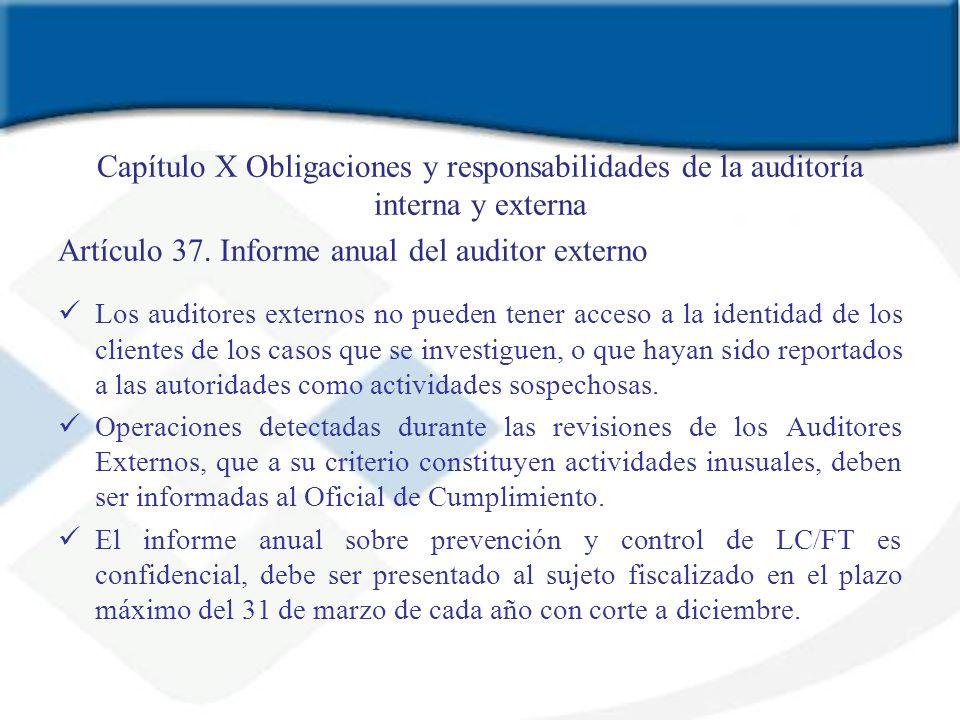 Artículo 37. Informe anual del auditor externo