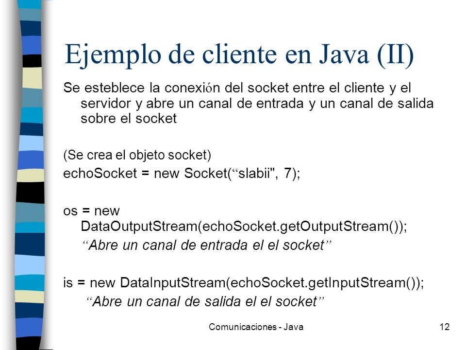 Ejemplo de cliente en Java (II)